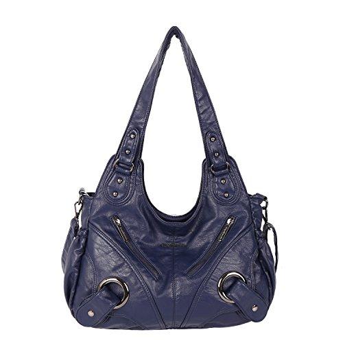 Angel Kiss Frauen-Handtasche geräumig mehrere Taschen Damen ' Schultertasche Mode PU Tote Tasche Satchel Tasche Designer-Handtaschen (XS162221-Dunkelblau)