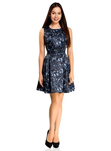 oodji Ultra Damen Tailliertes Kleid mit Ausgestelltem Rock, Blau, DE 34 / EU 36 / ()