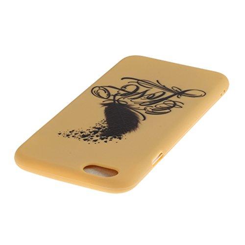 iPhone SE Coque,iPhone 5S Case,iPhone 5 Cover - Felfy Cas Ultra léger Mince Slim Gel Souple Soft Flexible TPU Silicone Fashion Couleurs de Bonbons Etui Couverture de Protection Bumper Anti Rayures Ant Jaune Plume