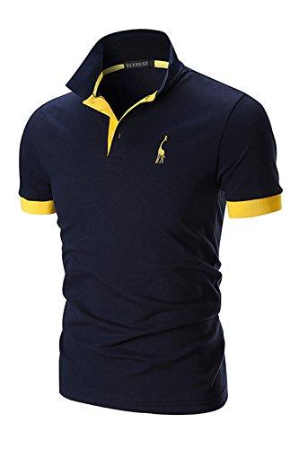YCUEUST Uomo Cotone Giraffa Ricamo Manica Corta Polo Tennis Golf Casual T-Shirt Blu Large
