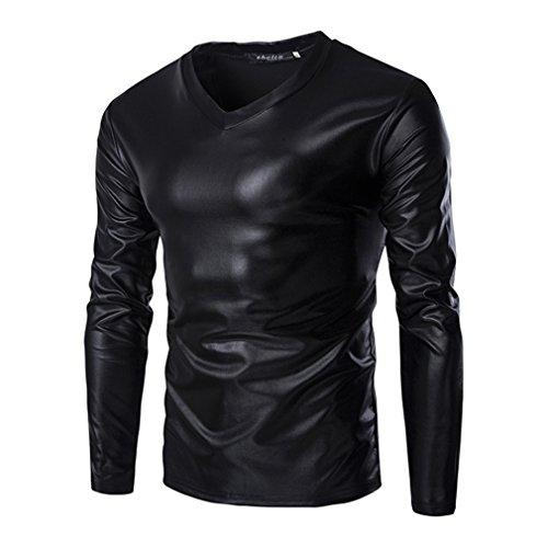 Zhien Clubwear Disco Dance Party Costume Cosplay Uomos Metallic Lucido Manica Lunga T-Shirt Slim Fit con Scollo av Tee Shirt Top Nero 3XL