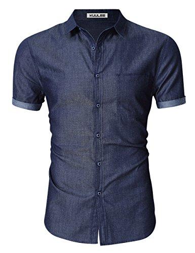 Herren Button-up-shirt Arbeiten (KUULEE Herren Jeanshemd Slim Fit Langarmhemd - Baumwolle/Denim - für Anzug, Business, Freizeit (L / DE 38, Dunkelblau Kurzarm))