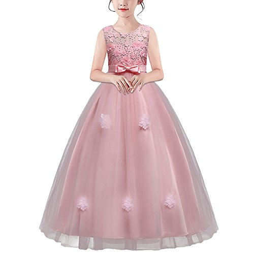 HUAANIUE Mädchen Abendkleid Hochzeit Blumenmädchen tragen Kostüme Farbe:-Rosa GR:-150