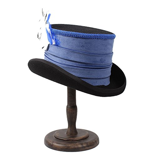 BEITE- Viktorianischer Steampunk Raben-Weinlese-Art-blauer Spitze-Oberseiten-Hut-Band-kreativer Pers5onlichkeit-Hut ( Farbe : 1 , größe : 61cm (Und Viktorianischen Kostüme Mode)