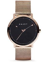 HAVET | Reloj de mujer Dyna de acero color oro rosa esfera negra y brazalete de