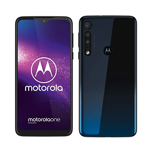 "Motorola One Macro (Ecran 6, 2"" HD+, Camera Macro Vision, 64GB/ 4GB, Android 9.0, Dual SIM), Bleu Sidéral"