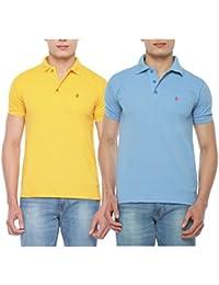 Digo Solid Men's Polo Neck Yellow, Light Blue T-Shirt (Pack Of 2)