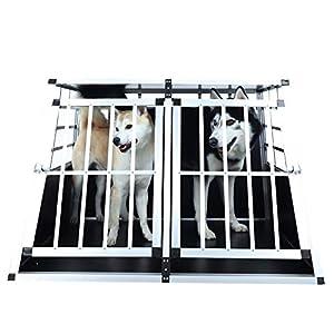 HomeMiYN Cage de Transport pour Chiens, Cage pour Chiens en Aluminium Durable et Solide