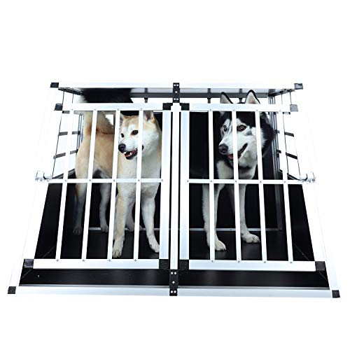 EUGAD Aluminum Dog Cage Puppy Travel Car Carrier Kennel Pet Crate Transport Box