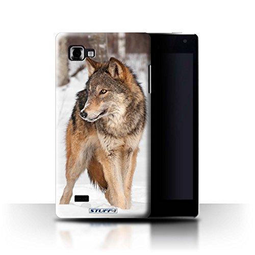 Custodia/Cover Rigide/Prottetiva STUFF4 stampata con il disegno Animali selvatici per LG Optimus 4X HD P880 - Lupo