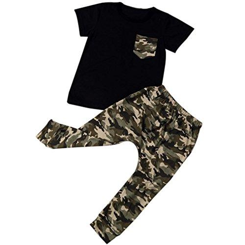 Bekleidung Longra Neugeborenes Sommer Baby Jungen Kurzarm T-Shirt Tops + Camouflage Hosen Outfits Kleidung gesetzt Baby-Anzüg (0 -24 Monate) (100CM 24Monate, Black) (Anzug Mischung)