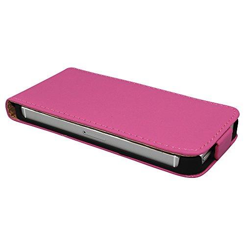 Avcibase 4260344989201 Flip PU Kunstleder Schutzhülle für Apple iPhone 4/4S rot Pink