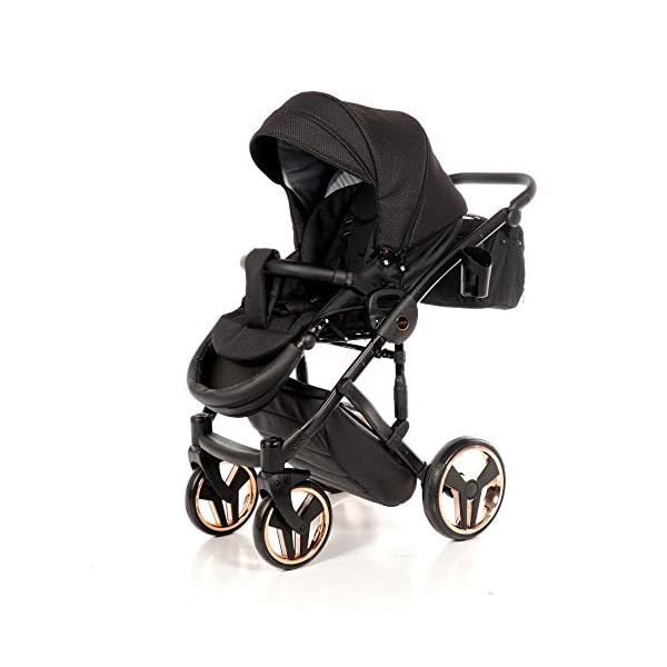 Combination Children's Pram Set JUNAMA Diamond Mirror Satin Baby Pram Buggy Pushchair + Accessories (02 Satin Schwarz - Kupfer, 3IN1) JUNAMA stable and lightweight aluminum frame construction with folding function 1-click system for easy assembly and disassembly Practical carrying handle for easy stowage of the folded frame maintenance-free gel wheels swiveling and lockable front wheels Six shock absorbers Central brake height adjustable push handle Automatic protection against folding the frame high-quality materials Push handle made of Ecco leather Upper materials are water-repellent Machining with silver ions and EcoTex technology waterproof and windproof, breathable high tear and abrasion resistance Covers are washable (100% cotton) Climate opening and window on the hood Hood is completely removable and can be used for the baby bath, as well as the sports seat folded up with wheels: 89 x 42 cm Total height of the stroller to hood top: 107 cm Lying height of the tub from the ground: 65 cm Variable height of the push handle: 77-107 cm Weight of the frame incl. Wheels: 10,2 kg External dimensions of baby carrier for newborns: 90 x 62 x 42 cm Weight of the baby bath attachment: 4.7 kg Length / width / height with hood of sport version: 92 cm x 44 cm x 62 cm Weight of sports seat: 5.5 kg 5