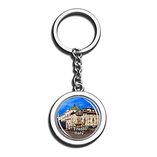 Trento Neptun Brunnen Italien 3D Kristall Kreative Schlüsselbund Spinning Round Edelstahl Schlüsselanhänger Ring Travel City Souvenir Collection