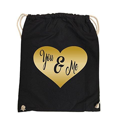 Comedy Bags - YOU & ME - HERZ NEGATIV - Turnbeutel - 37x46cm - Farbe: Schwarz / Pink Schwarz / Gold