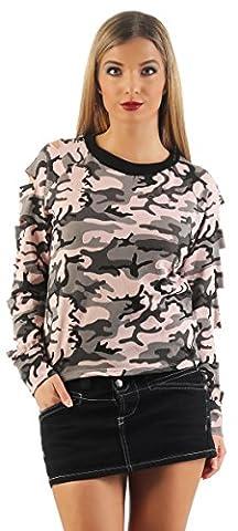 Mr.Shine Frauen Langarm Hohle Loch Bluse Sweater Pullover Camouflage Größe S, M, L, XL, XXL (M,