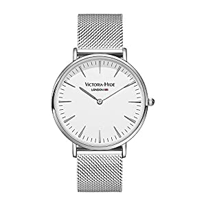 VICTORIA HYDE Mens Watch Unisex Women Wristwatches With Mesh Band Stainless Steel Sliver and Rose Gold Analogue Quartz Waterproof (White-sliver)