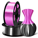 SUNLU 3D Filament 1.75, Shiny Silk PLA Filament 1.75mm, 2KG PLA Filament 0.02mm for 3D Printer 3D Pens, Black + Purple