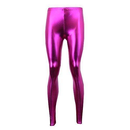 Donna American Disco Pants Leggings Aderenti Donna Lunghezza Alla Caviglia Lucido Festa - Fucsia - AMDISCO, Media lunghi