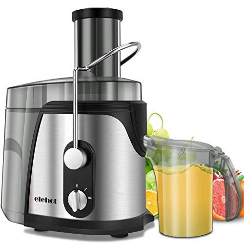 ELEHOT Licuadora Exprimidor Zumo para Verduras y Frutas 800W-Extractor de Zumos Centrífugo con Boca Ancha 75MM, 2 Velocidades con Base Antideslizante, Libre de BPA