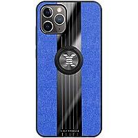"""Ttimao Funda iPhone 11 Pro MAX(6.5"""") Soporte Giratorio de 360 ° Ultra-Delgado Patrón con Textura de Tela Caso+1*Protector de Pantalla Anti-Rasguño Anti-Shock Funda Protectora-Azul"""