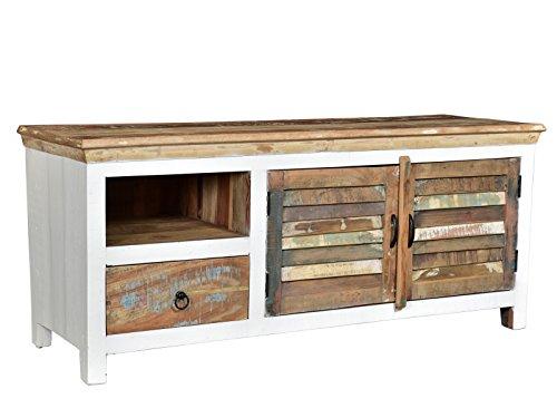 Woodkings® TV-Bank Perth weiß, 2türig, recyceltes Massivholz antik, TV-Unterschrank Vintage, Design TV-Möbel Schublade Holzmöbel -