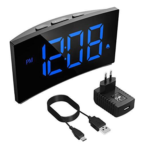 """PICTEK Digitaler Wecker, Digitaluhr, Reisewecker,5"""" LED-Display, Randlos Kurve, Dimmer, Snooze, 12/24 Stundenanzeige, 3 Alarmtöne, Naturgeräusche, USB-Stromanschluss -Blau (mit Adapter)"""