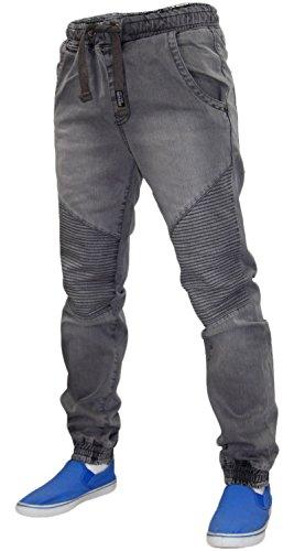 Mens 7 série collerette ourlet élastiqué taille Denim Jeans Grey Wash