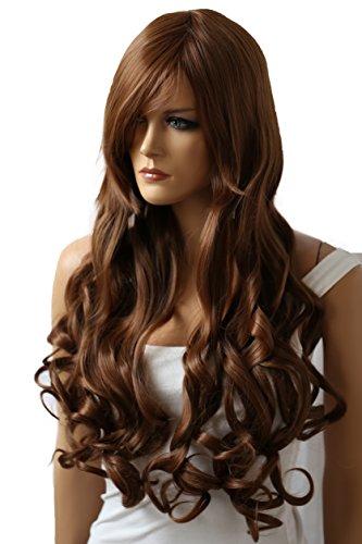PRETTYSHOP Perruque 90cm ondulé volumineux cosplay résistant à la chaleur brun CP7