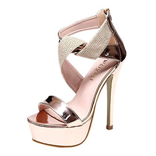 High Heels Damen Sandalen Slip Plattform Spitzschuh Hohen Hacken Super High Spike Ferse Plateauschuhe Sexy Absatzschuhe Schnalle Stiletto Stilett Schuhe (Gold,39 EU) Spike Heel Sexy Schuhe