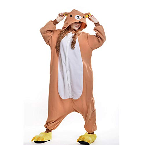 DUKUNKUN Erwachsene Pyjamas Bär Pyjamas Kostüm Orange Cosplay Für Tier Nachtwäsche Cartoon Halloween Festival/Urlaub/Weihnachten,L