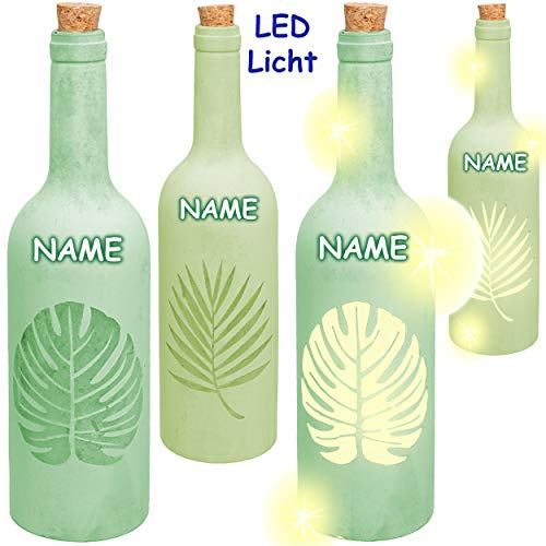 alles-meine.de GmbH 4 Stück _ Glas - LICHT Dekoflaschen - 5 Stück LED - Tropische Blätter / Monstera Blatt / Palmen - grün - inkl. Name - Lichtflaschen / Flaschen mit Licht - 30 .. -