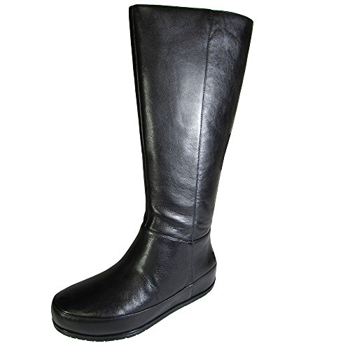 FitFlop Twisted Zip Knee, Damen Stiefel & Stiefeletten, Schwarz - Schwarz - Größe: EU 36 (UK 3) (Twisted-zip)
