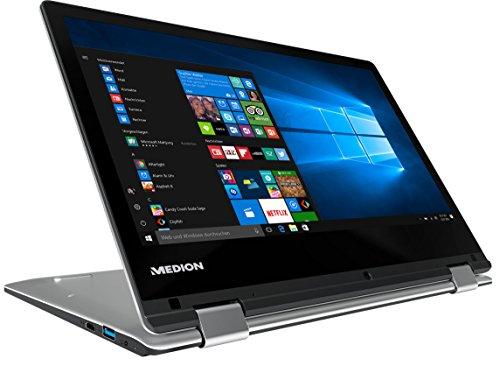 MEDION AKOYA E2227T MD 60798 29,5 cm (11,6 Zoll HD Display) Convertible Touch-Notebook (Intel Atom x5-Z8300, 4GB RAM, 64GB Flash-Speicher, Intel HD-Grafik, Office 365, Win 10 Home) silber