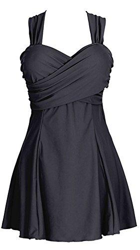 Eleganter Einteiliger Damen Badeanzug mit Rueckchen Bandeau Badekleid, Gr. DE 42 / Etikettengroeߥ 4XL (Swimsuit Crossover Piece One)