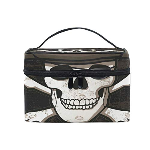 Tragbare hängende Make-up Kosmetiktasche Tasche,Travel Cosmetic Bag Halloween Skull Pirate Toiletry Makeup Bag Pouch Tote Case Organizer Storage for Women Girls