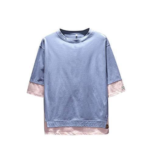 Tohole Herren T-Shirt Uni T-Shirt Slim Fit LäSsiges T-Shirt Mit Rundhalsausschnitt Und Halbem ÄRmel FüR Herren(blau,M)