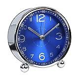 DE-BLUS Wecker / 4-Zoll-Mute Bett Kinder Metall Uhr/Batteriebetrieben Mechanische Analoge Uhr, Blau