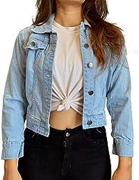 Shocknshop Full Sleeves Comfort Fit Regular Sky Blue Denim Turn-Down Jacket for Women (JKT25)