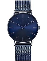 Alienwork Navy Blue Unisex Armbanduhr Herren Damen Uhr Edelstahl Milanaise-Armband Mesh-Metallband blau Analog Quarz Herrenuhr Damenuhr Wasserdicht Ultra-flach dünn Klassik