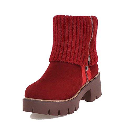 VogueZone009 Donna Cerniera Punta Tonda Tacco Medio Pelle Di Mucca Bassa Altezza Stivali Rosso