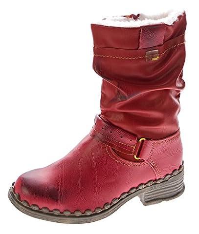 TMA Damen Winter Stiefel echt Leder gefüttert Stiefeletten TMA 5005 Schuhe Rot Boots Gr. 39
