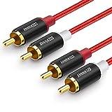LinkinPerk Cinch Audio Kabel (2 Cinch-Stecker auf 2 Cinch-Stecker) 2x Cinch Stereo Audio Kabel für HiFi-Anlage,Heimkino,Blu-Ray Player 1M