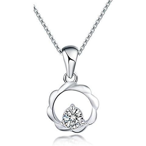 ZWX Ladies circle breve catena della clavicola/ semplice ciondolo/ Silver collane moda-A