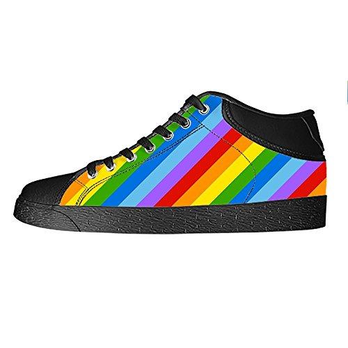 Dalliy Rainbow Men's Canvas Shoes Lace-up High-top Footwear Sneakers Chaussures de toile Baskets