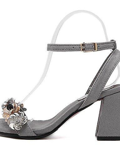 LFNLYX Chaussures Femme-Habillé-Noir / Gris-Gros Talon-Talons / A Plateau / Bout Ouvert-Sandales-Laine synthétique Black