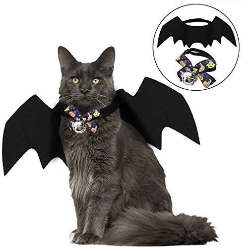 Kostüm Fliegen Flügel - Fansport Haustierkostüm Fledermaus Flügel für Halloween, Katzen, Hund, Fledermaus, Hundekostüm, Hundekostüm, Leinen, Cosplay, Fledermaus-Kostüm mit Fliege