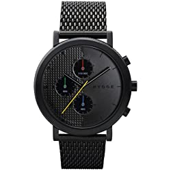 Hygge 2204 Unisex Quartz Watch with Black Dial Chronograph Display and Black Stainless Steel Plated Bracelet MSM2204BC(BK)
