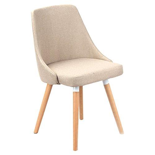 Mena Uk Massivholz Rückenlehne Stuhl, Nordic Creative Rückenlehne Massivholz Beine Stühle mit gepolsterten Pad Zeitgenössische Designer für Office Lounge Esszimmer Küche ( Farbe : Khaki , größe : 42cmX42cmX45cm )