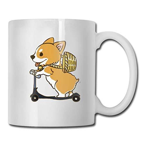 Daawqee Becher Coffee Mug Pockets Skateboarding Corgi Mug Funny Ceramic Cup for Coffee and Tea with Handle, White (Cooker Thermo Slow Tiger)